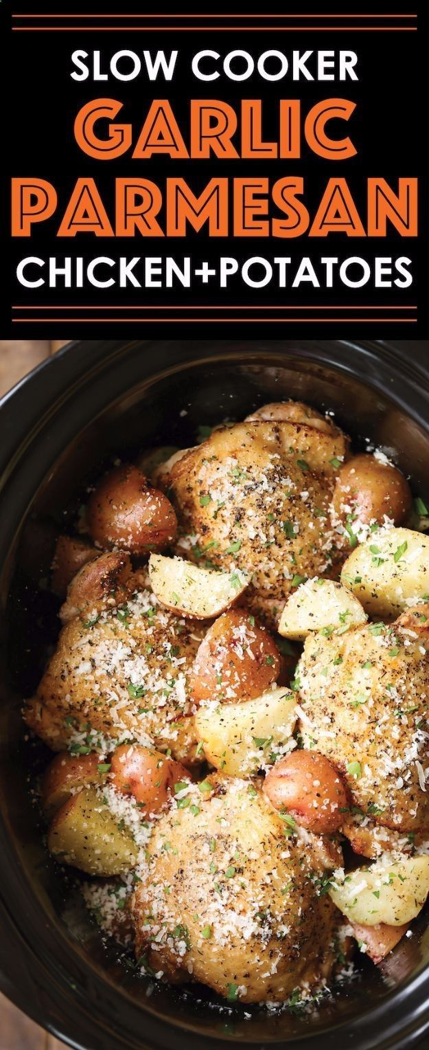 Healthy Crockpot Recipes to Make and Freeze Ahead - Slow Cooker Garlic Parmesan Chicken And Potatoes - Easy and Quick Dinners, Soups, Sides You Make Put In The Freezer for Simple Last Minute Cooking - Low Fat Chicken, Veggies, Stews, Vegetable Sides and B