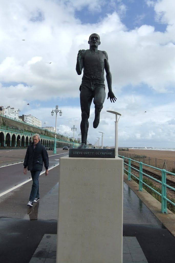 Brighton's iconic Steve Ovett statue is right by the finish line of the route