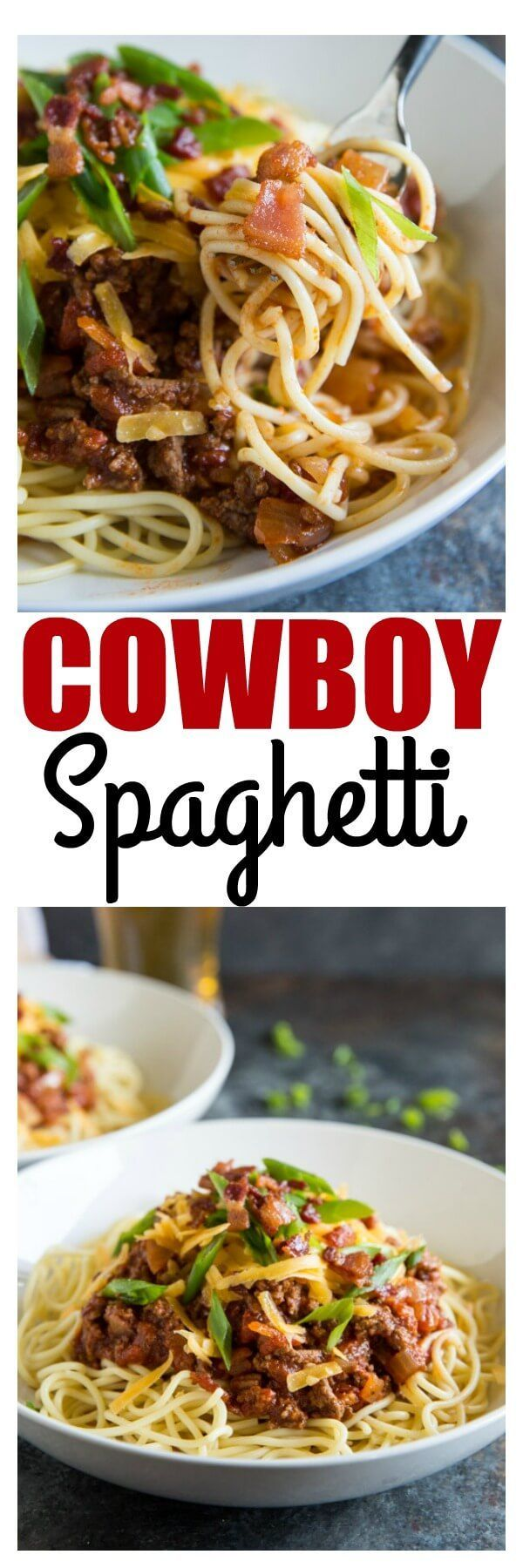 Trust no one but cowboys to upgrade your spaghetti. Bacon, cheese, and lots of hot sauce make Cowboy Spaghetti a family favorite! via @culinaryhill