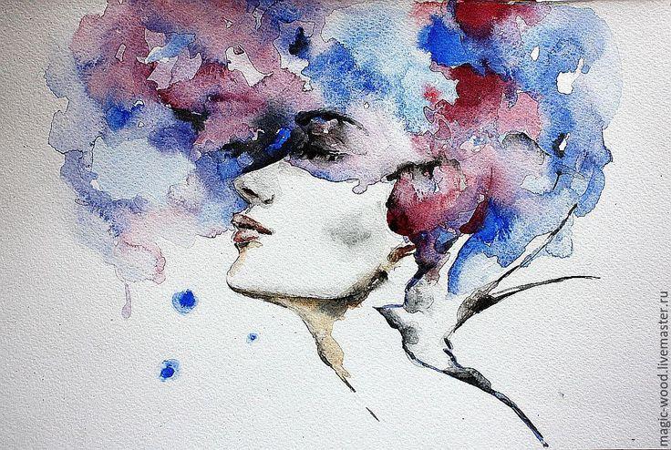 """Купить Иллюстрация """"SPACE"""" - разноцветный, космос, портрет, иллюстрация, синий, Ультрамарин, розовый, небо, девушка"""