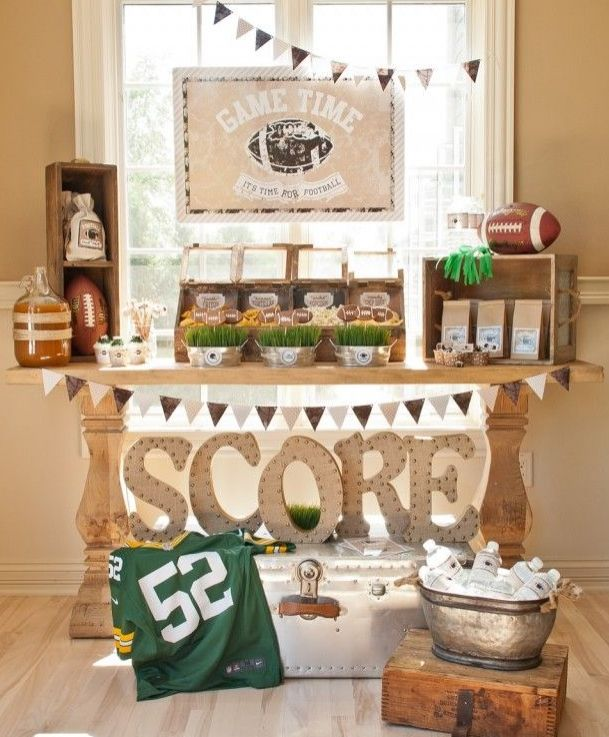We love this football themed party! This host thought of everything from serving stations to goodie bags! Pin now, take a few notes later before your next party.