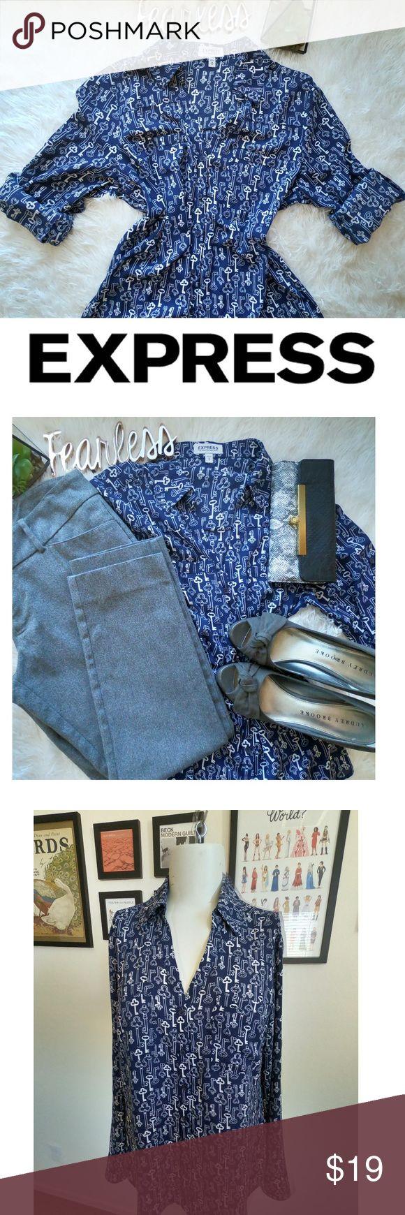 Portofino Key Print Convertible Sleeve Blouse M Express Portofino shirt, blouse….