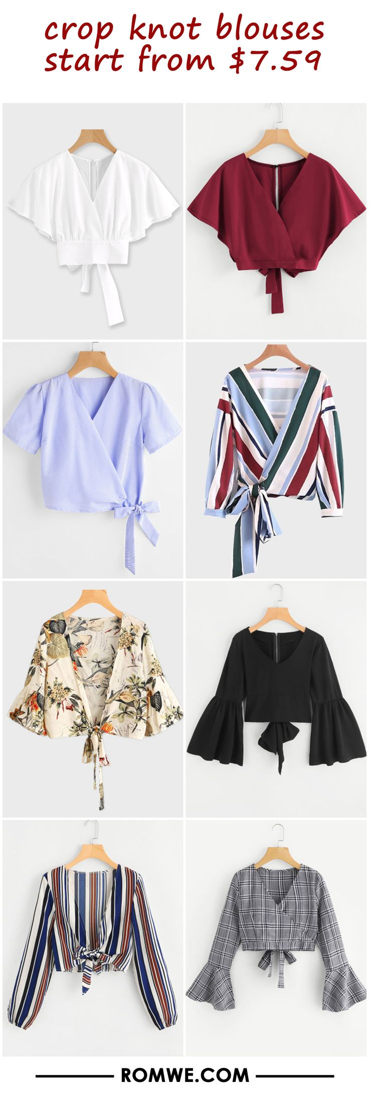 crop knot blouses from $7.59