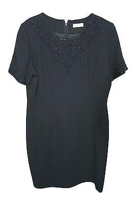 THE COLLECTION HOUSE OF FRASER BLACK EVENING DRESS UK SIZE 14 EMBELLISHED