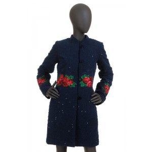 Folk Design - granatowy płaszcz z cekinami