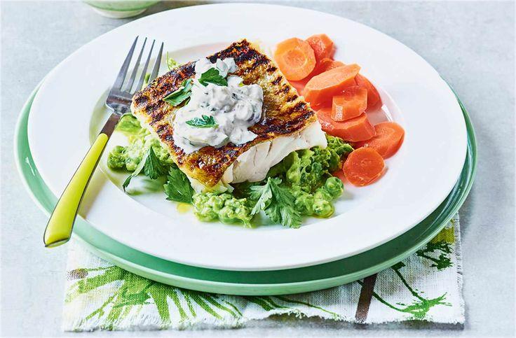 Crispy cod with pea mash and lighter tartare sauce recipe