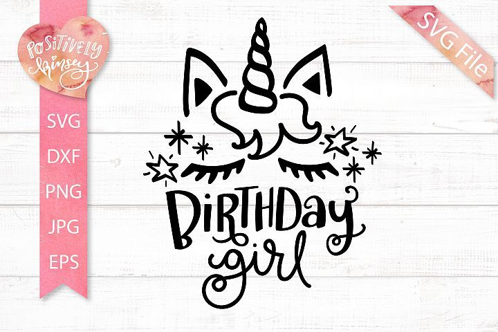 Birthday unicorn svg dxf png jpg eps cute birthday girl