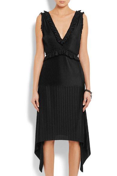 Givenchy - Pleated Midi Dress In Black Stretch-satin - FR34