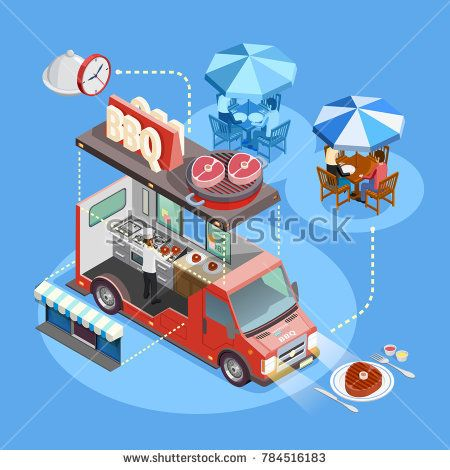 Stock Photo: BBQ food truck interior with cooking owner menu and lunching customers isometric circle composition poster illustration