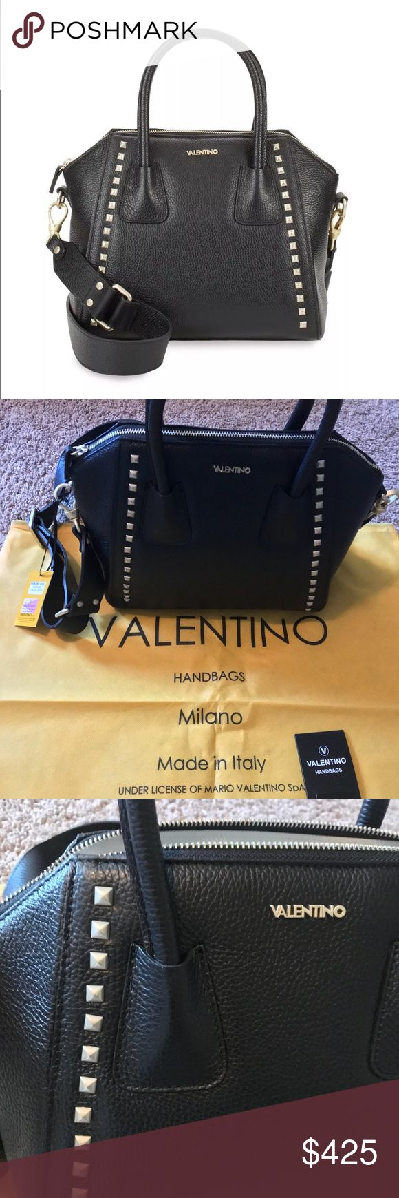 Auth Valentino by Mario Valentino Black Satchel Auth Valentino by Mario Valentino Satchel Black with brush gold studs and brush gold Hardware ❤️❤️❤️❤️❤️❤️😜😜😜😜😜!!!!!!!! Comes with Dust Bag and authenticity papers!!! Retail for $895 Valentino Bags Satchels