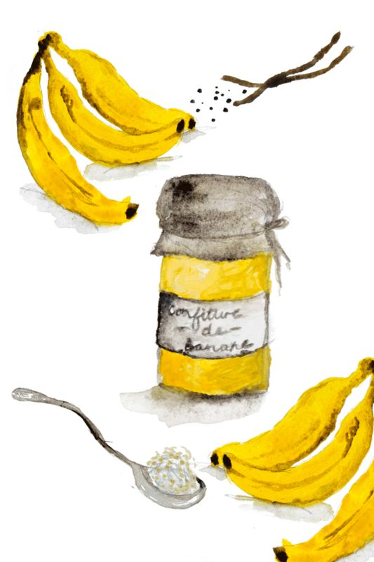 Family Recipes | Conteu Magazine. Illustration / Jam / Banana / Vanilla / Jar / Home made