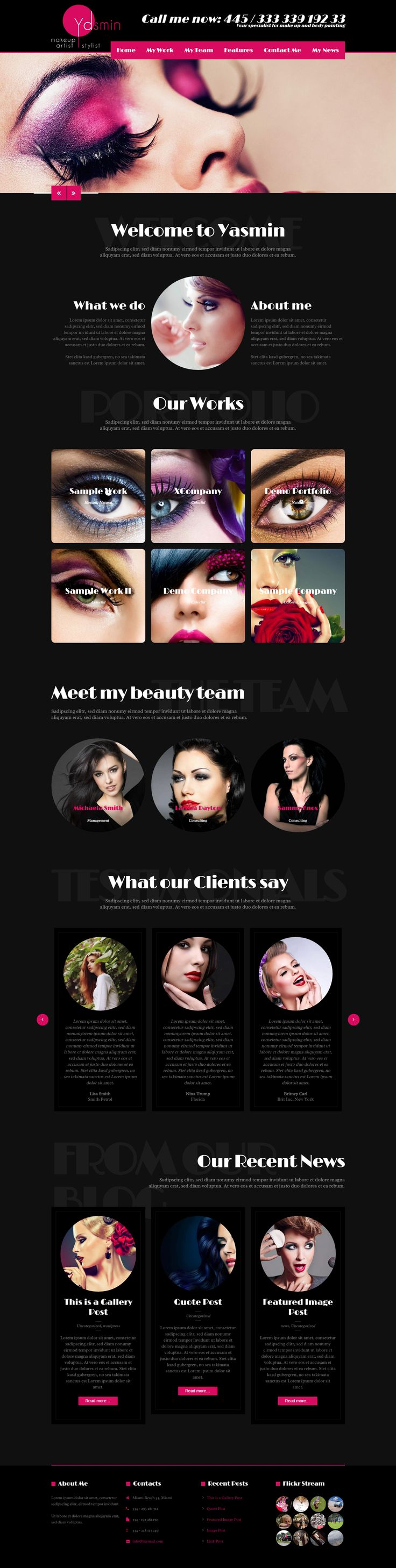 "Yasmin - beauty salon & makeup artist  WordPress theme. Yasmin has a dark designed layout with red highlights. So it ""glows"" to showcase your pretty work in a perfect way. The layout is made for hairdresser, haircutter, cosmeticians, beauticians, makeup artists, nail designer and all other beauty related businesses.   #WP #WordPress #Webdesign #Makeup artist #beauty #hairdresser #cosmetician #beautician #barber"