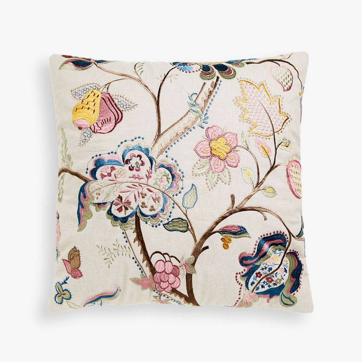 Image 1 of the product MULTICOLOURED CUSHION COVER WITH FLORAL EMBROIDERED CENTRE