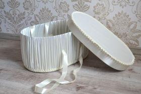 Cutie pentru trusou, model oval, satin Ivory