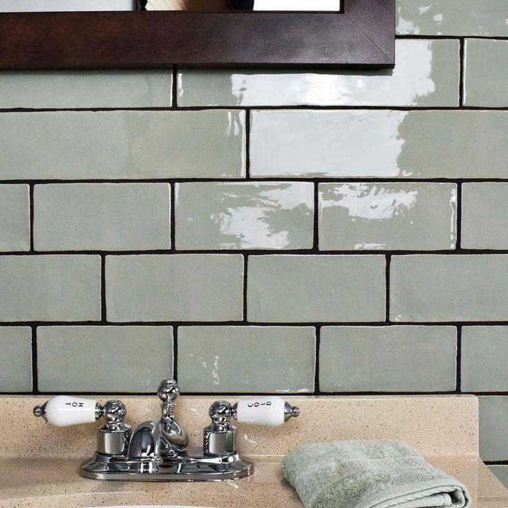 Merola Tile Chester Sage 3 In X 6 In Ceramic Wall Tile 1 Sq Ft Pack Green High Sheen Ceramic Chester Ft G Wandkachel Badezimmer Grun Inspiration