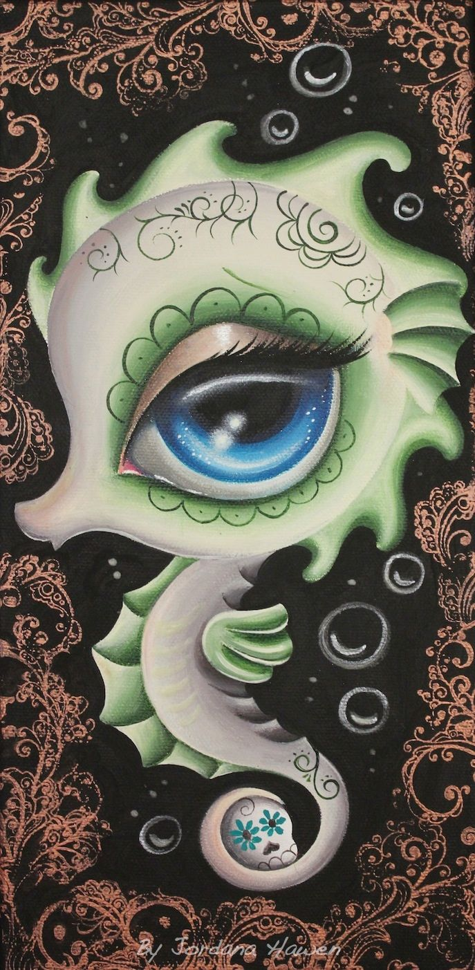 Day of the dead seahorse lowbrow art. Sold.
