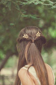 Grecian Leaf Hair Pins Gold Leaf Bobby Pins Leaf by EchoandLaurel, $45.00