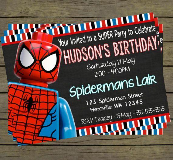 Lego Spiderman Digital Birthday Invitation - Hero Superhero Party Digital File; You Print - printable - PYO