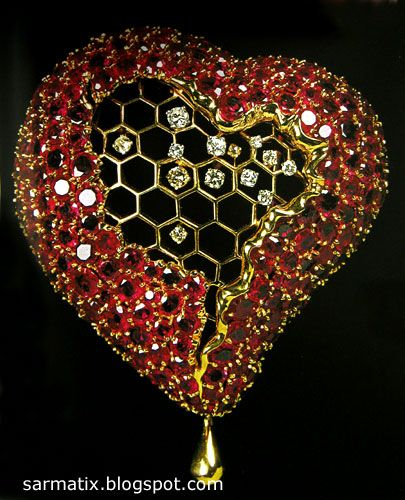 Honeycomb Heart - jewelry by Salvador Dali, Figueres, Spain.