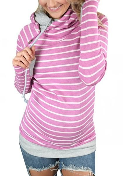 f758cfd1f1f9f Rose Carmine Striped Drawstring Zipper Cowl Neck Casual Hooded Maternity  Sweatshirt