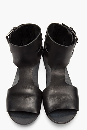 MARSELL Black Leather Strambo Sandals