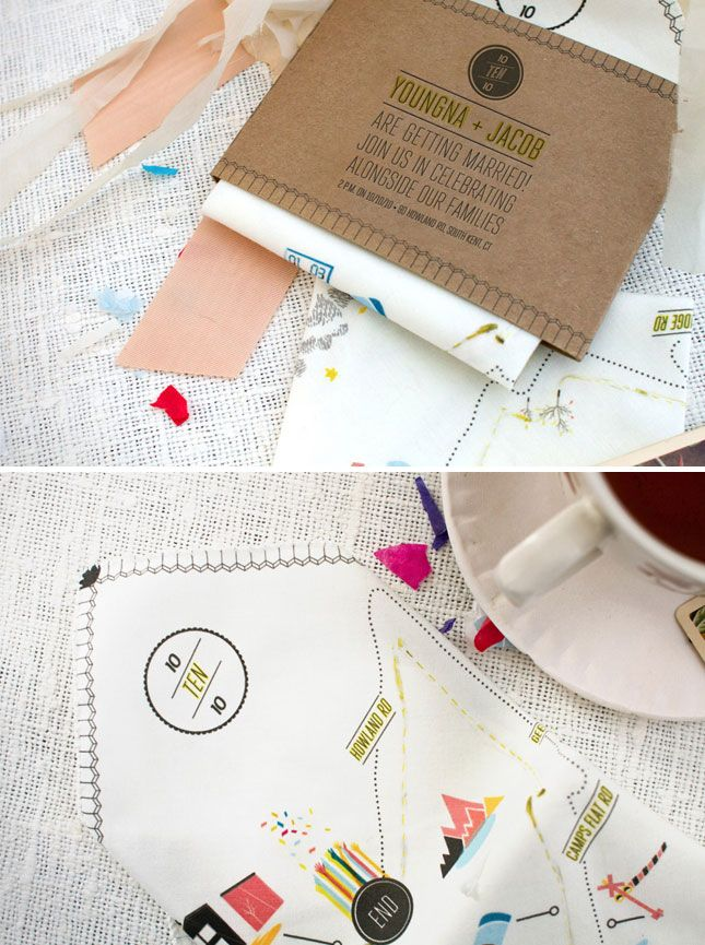 Handkerchief Map Invitation   25 Creative Invitations