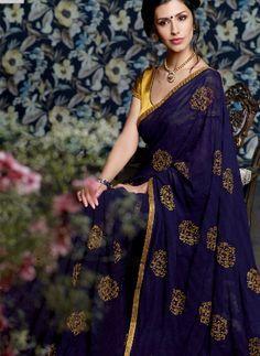 Deep Blue Chiffon Saree With Gold Sequin Work