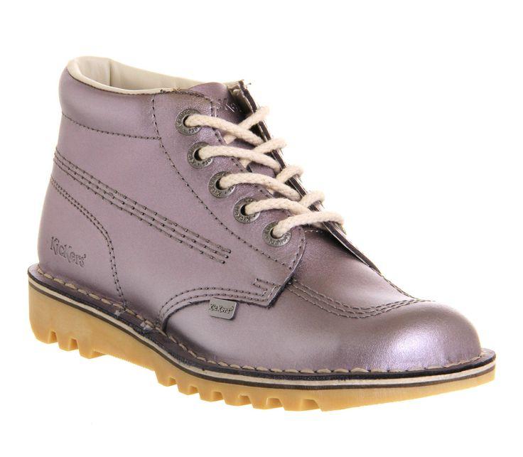 Womens Kickers Kick Hi (G) Lilac Metallic Flats, http://shop