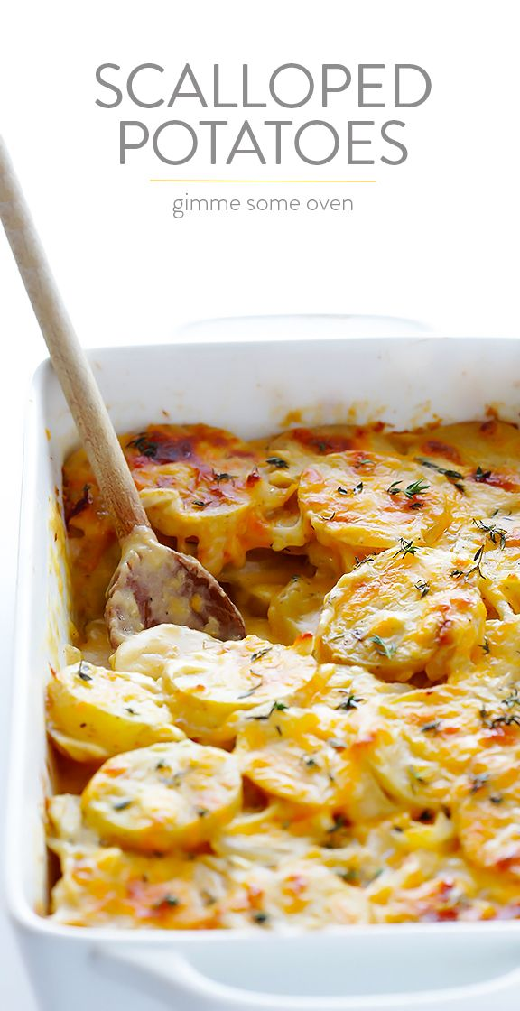 Scalloped Potatoes Recipe -- rich, creamy, cheesy, yet made lighter (and speedy!) with a few simple tweaks | gimmesomeoven.com