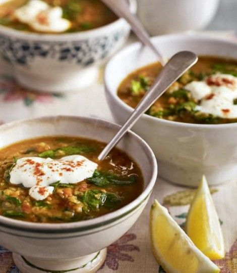_Middle-Eastern-spiced-spinach-and-lentil-soup-with-garlic-yogurt http://www.deliciousmagazine.co.uk/recipes/middle-eastern-spiced-spinach-and-lentil-soup-with-garlic-yogurt/