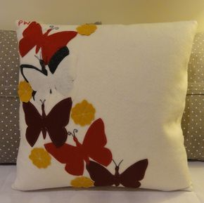 Handmade wool felt cushion