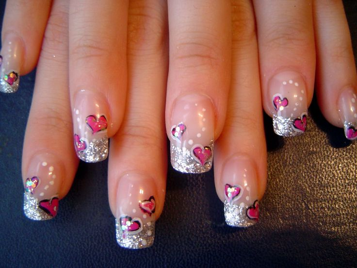 Silver French Nails with pink Hearts - Nail Art