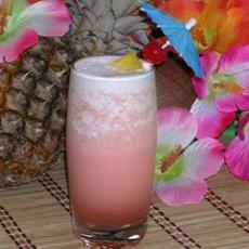 Pink Panther:     1 cup ice (crushed)   1 oz amaretto liqueur  1 oz vodka  8 ozs pineapple juice  1 tsp grenadine syrup  1 slice pineapple (fresh)   1 maraschino cherry