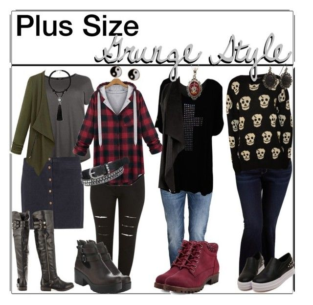 """""""plus size -grunge style"""" by outcast-tips ❤ liked on Polyvore featuring Old Navy, H&M, WearAll, Dorothy Perkins, maurices, JustFabulous, MANGO, Alkemie, Accessorize and 1928"""