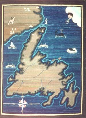 Grenfell Hooked mat; map of Newfoundland