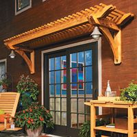 Perfect Pergola - COMPLETE BUILD PLANS to add a pergola over a door or garage entrance. would look SOO PURDY with some vines on it.... or extended over a back deck