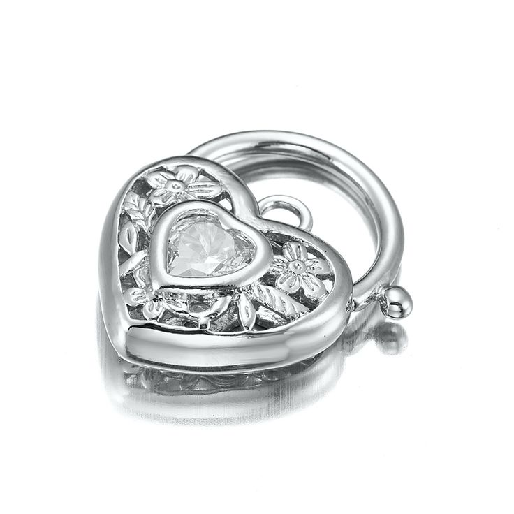 White Gold Layered Filigree Heart Locket with a Clear CZ Stone | Allure Gold