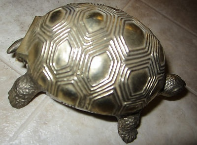 Metal turtle, red inside lining, Japan