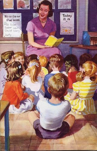 Looks just like my infant classes. I'd be the one in a neat clean dress, with carefully parted hair in bunches.....for about 2 minutes.. somehow I had the knack of looking a total mess. I would have got straight A's in 'dragged through a hedge backwards' studies :)