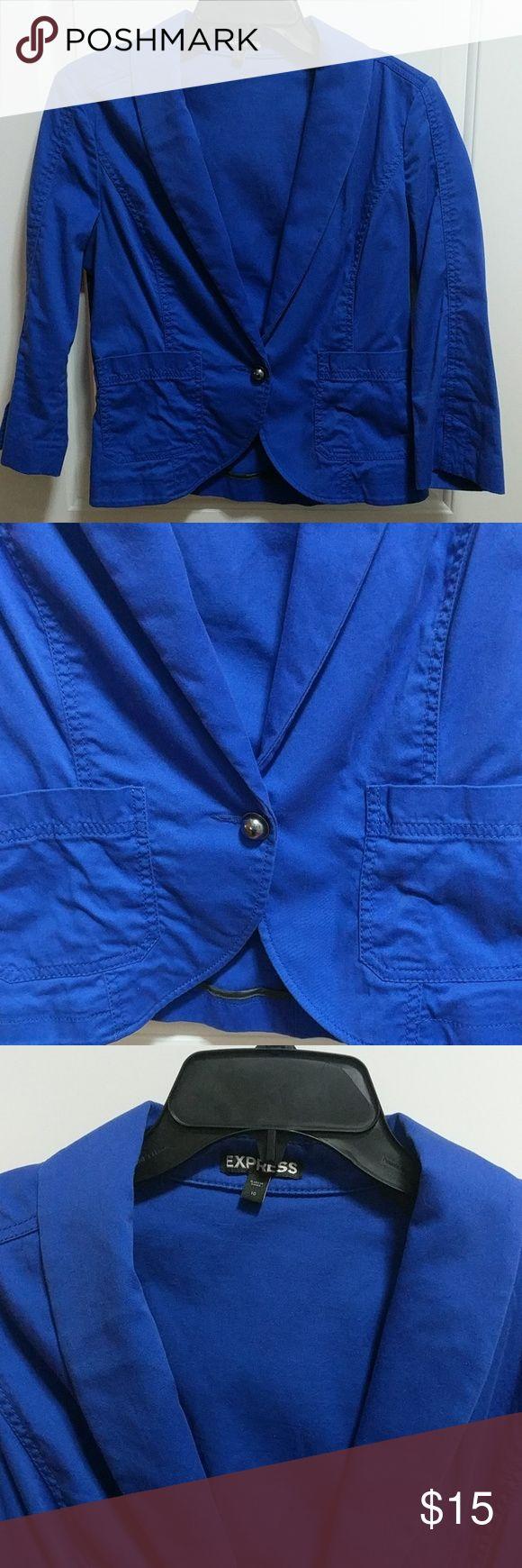Express Women's Blue Jacket size 10 Express royal blue women's jacket. Single button closure, 2 front pockets. Slits on sleeves.  🌟Smoke free home 🌟No trades 🌟11301 Express Jackets & Coats Blazers
