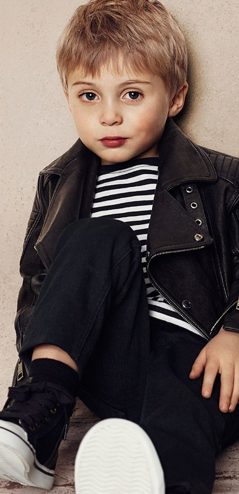 Brit Rhythm miniatures - biker jackets, denim and bold stripes for boys inspired by the new fragrance