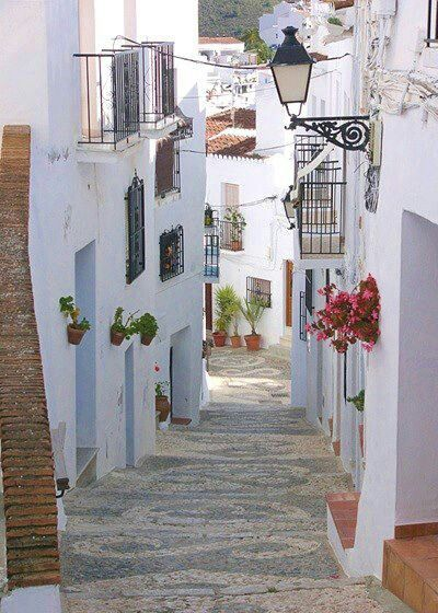 Love the crisp white buildings, the narrow street in Spain, and the way the colorful flowers stand out.  I could so live there!!!