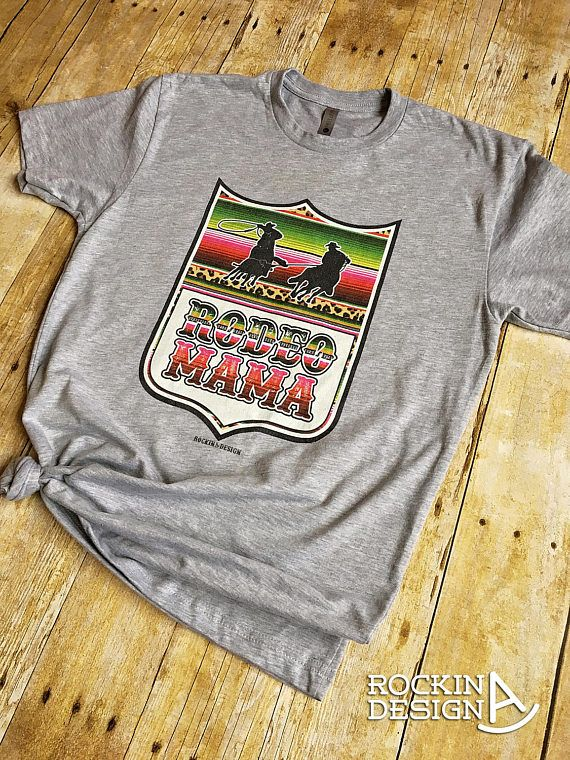 Rodeo Mama team roping tee / heather gray graphic tee t-shirt / serape leopard rodeo back number