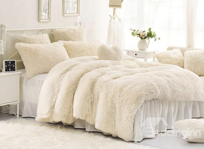 Deluxe Grey  Velvet Reverse Faux Mink Fox Fur 3 pcs King Queen Comforter Set
