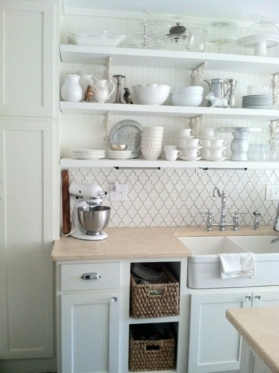 White lantern tile make this kitchen bright and inviting for Bungalow kitchen ideas