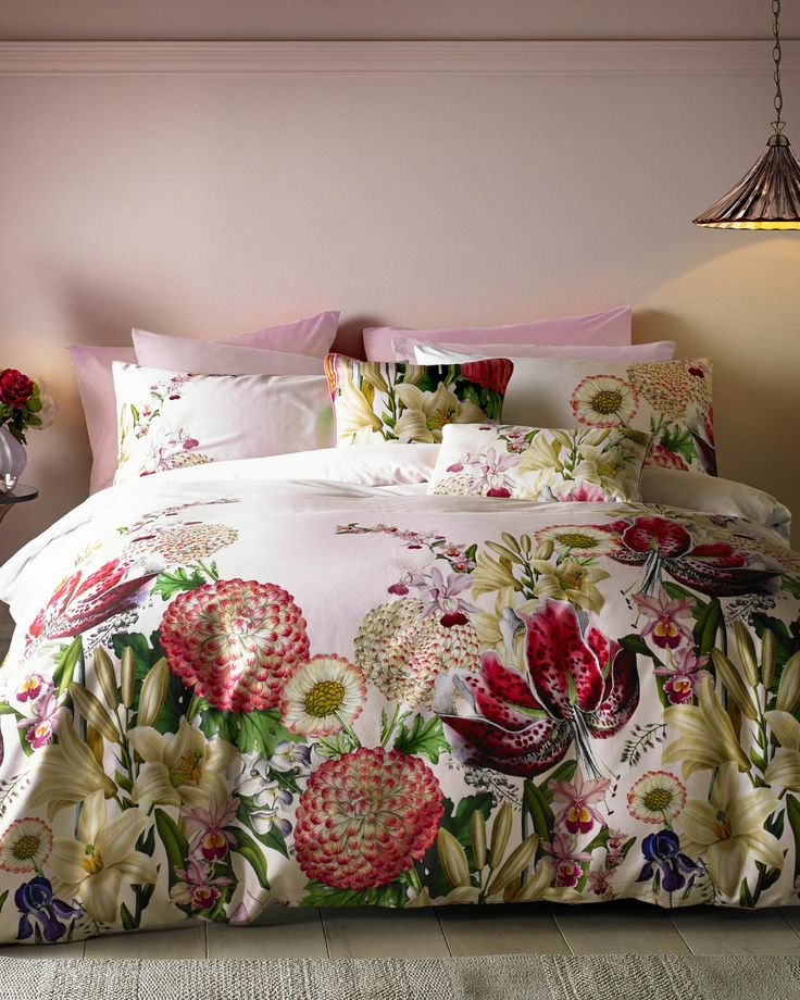 Encyclopaedia Floral cotton double duvet cover - Pink | Home and Gifts | Ted Baker UK