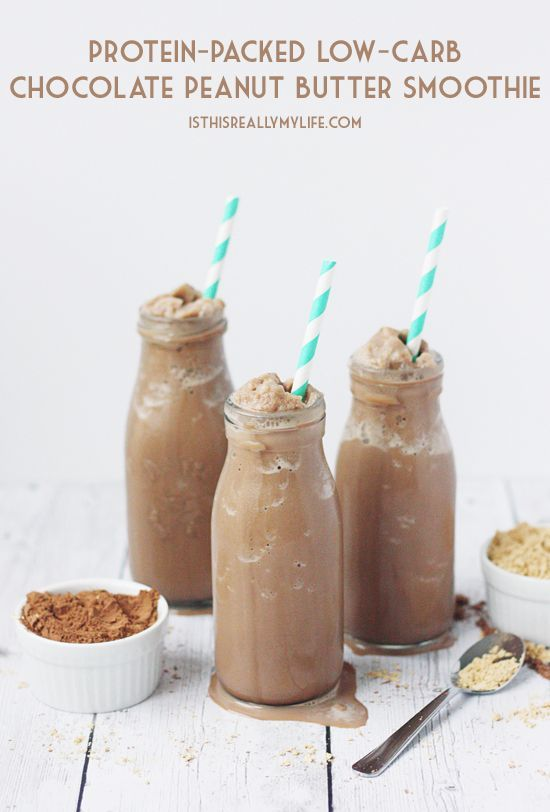 Protein-Packed Low-Carb Chocolate Peanut Butter Smoothie -- This chocolaty, peanut-buttery, protein-packed smoothie is low carb thanks to unsweetened almond milk, cocoa powder and no-calorie sweetener. | isthisreallymylife.com