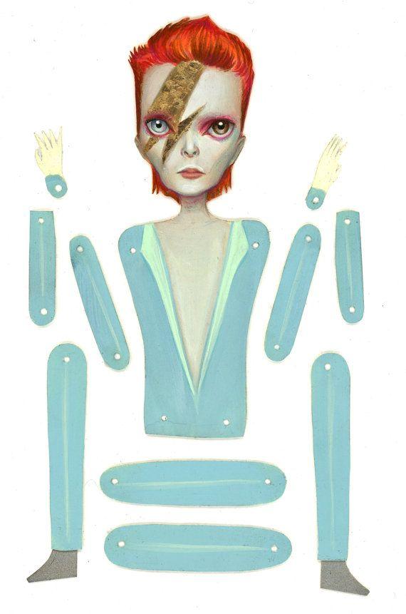 Ziggy Stardust David Bowie artikuliert Papier Puppe von mabgraves