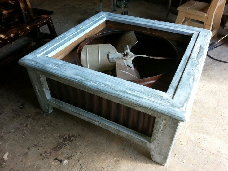 Repurposed exhaust fan turned into a coffee table 44 x - How tall should a coffee table be ...
