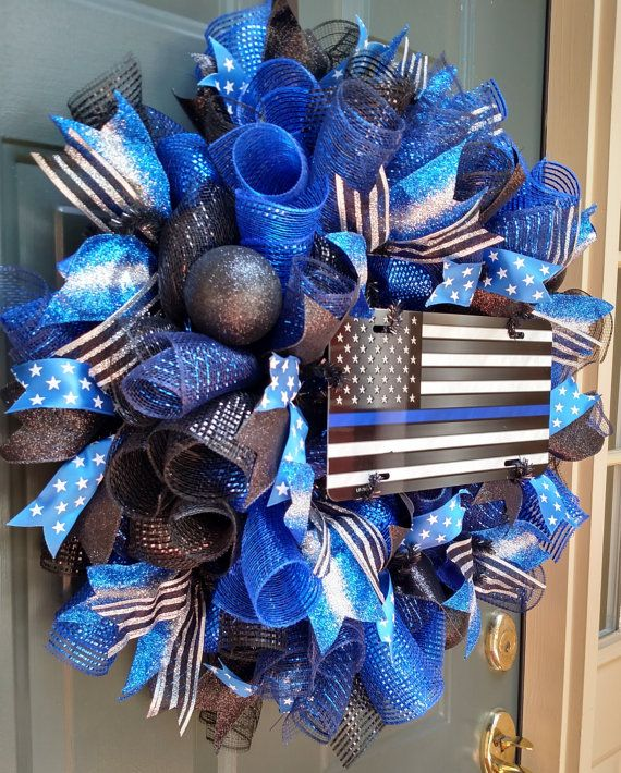 Thin Blue Line Wreath Police Wreath Front Door by ChanceyCreations